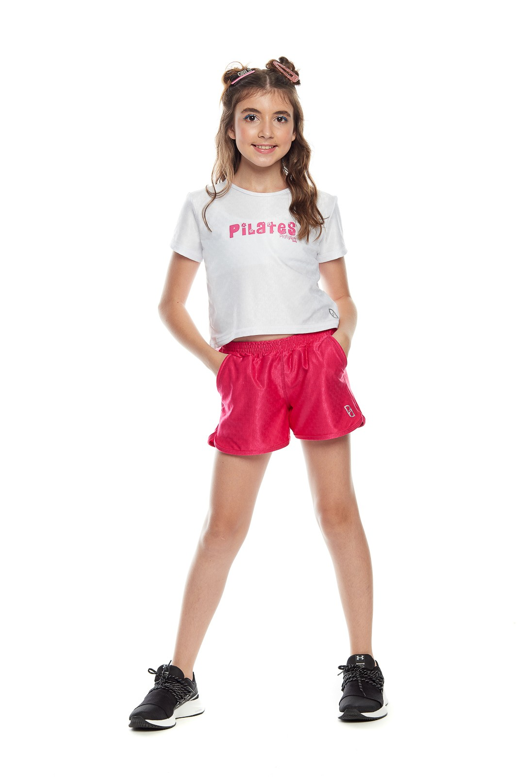 "CROPPED INFANTIL ""PILATES FLORES KIDS"""