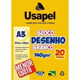 BLOCO DE DESENHO BRANCO A3 USAPEL 140G 20 FOLHAS