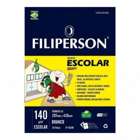 BLOCO DE DESENHO ESCOLAR BRANCO A3 FILIPERSON 140G 20 FOLHAS