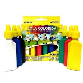 COLA COLORIDA 06 CORES ACRILEX ABELHINHAS 23G