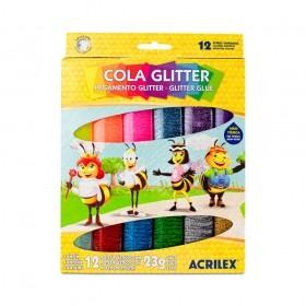 COLA GLITTER ACRILEX 12 CORES 23G CADA