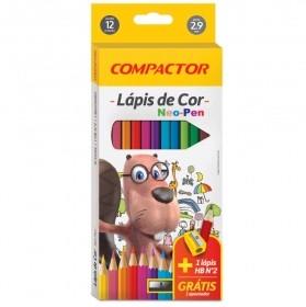 LÁPIS DE COR NEO-PEN 12 CORES COMPACTOR