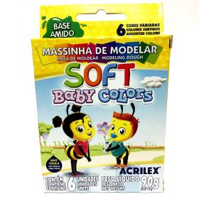 MASSINHA DE MODELAR ACRILEX SOFT BABY COLORS 6 CORES