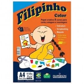 PAPEL CRIATIVO FILIPINHO COLOR A4 8 CORES 45 FOLHAS 85G
