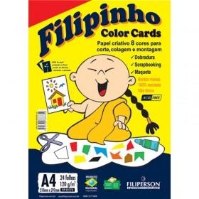 PAPEL CRIATIVO FILIPINHO COLOR CARDS A4 8 CORES 24 FOLHAS 85G