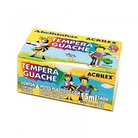 TINTA TEMPERA GUACHE ACRILEX ABELINHAS 06 CORES 15ml