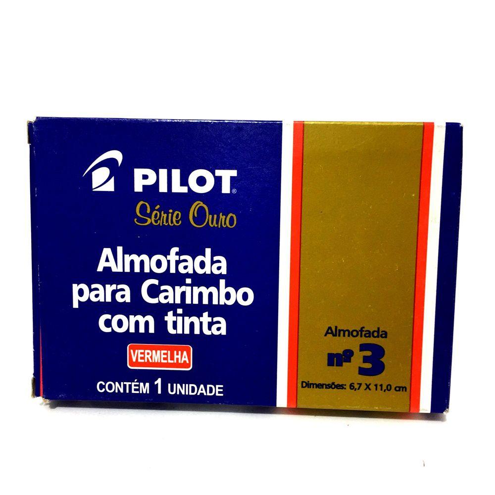 ALMOFADA PARA CARIMBO VERMELHA Nº 3 PILOT COM TINTA