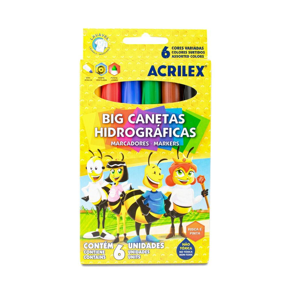 BIG CANETA HIDROGRÁFICA ACRILEX 6 CORES