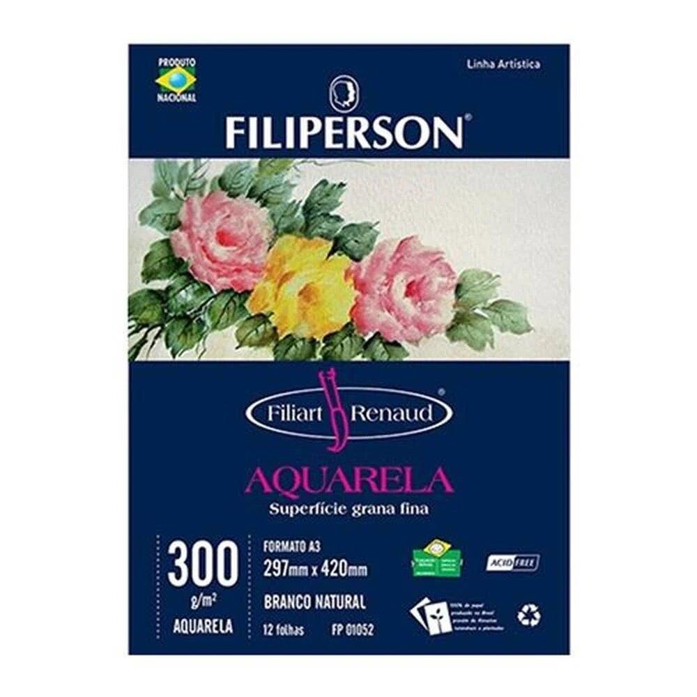 BLOCO DE DESENHO AQUARELA A3 FILIPERSON 300G 12 FOLHAS