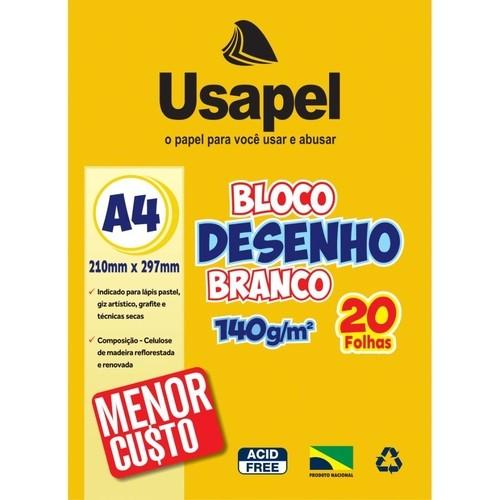 BLOCO DE DESENHO BRANCO A4 USAPEL 140G 20 FOLHAS