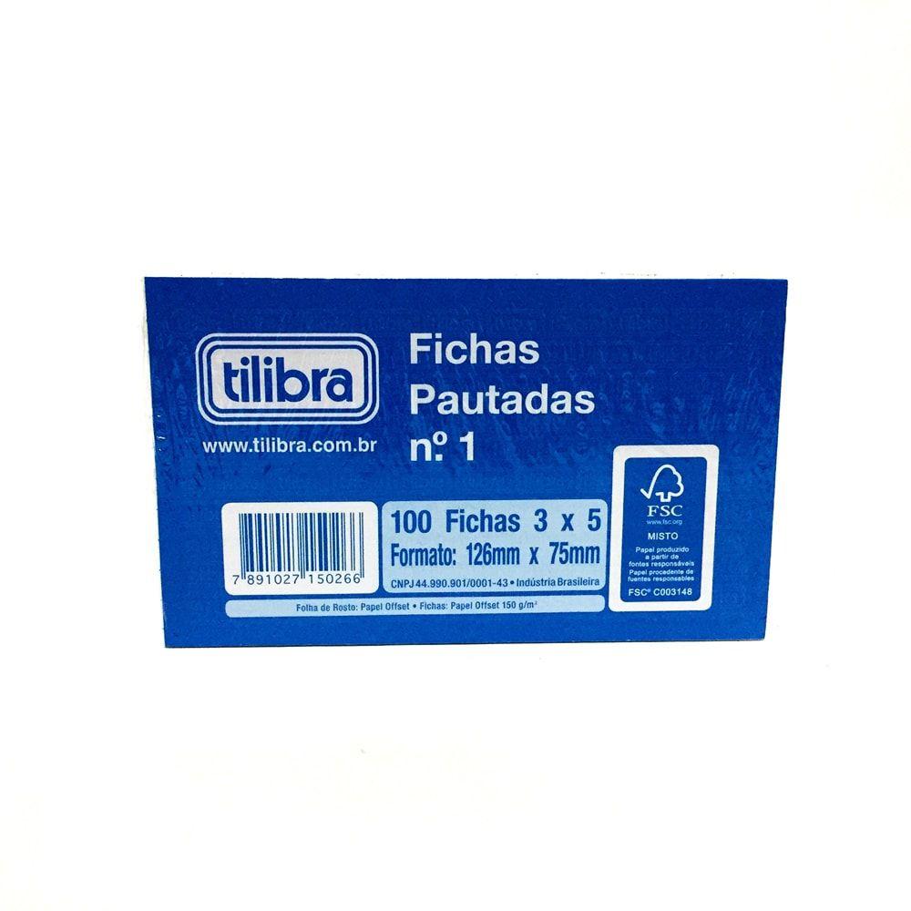 BLOCO DE FICHAS PAUTADAS N° 1 TILIBRA 100 FICHAS 3 X 5
