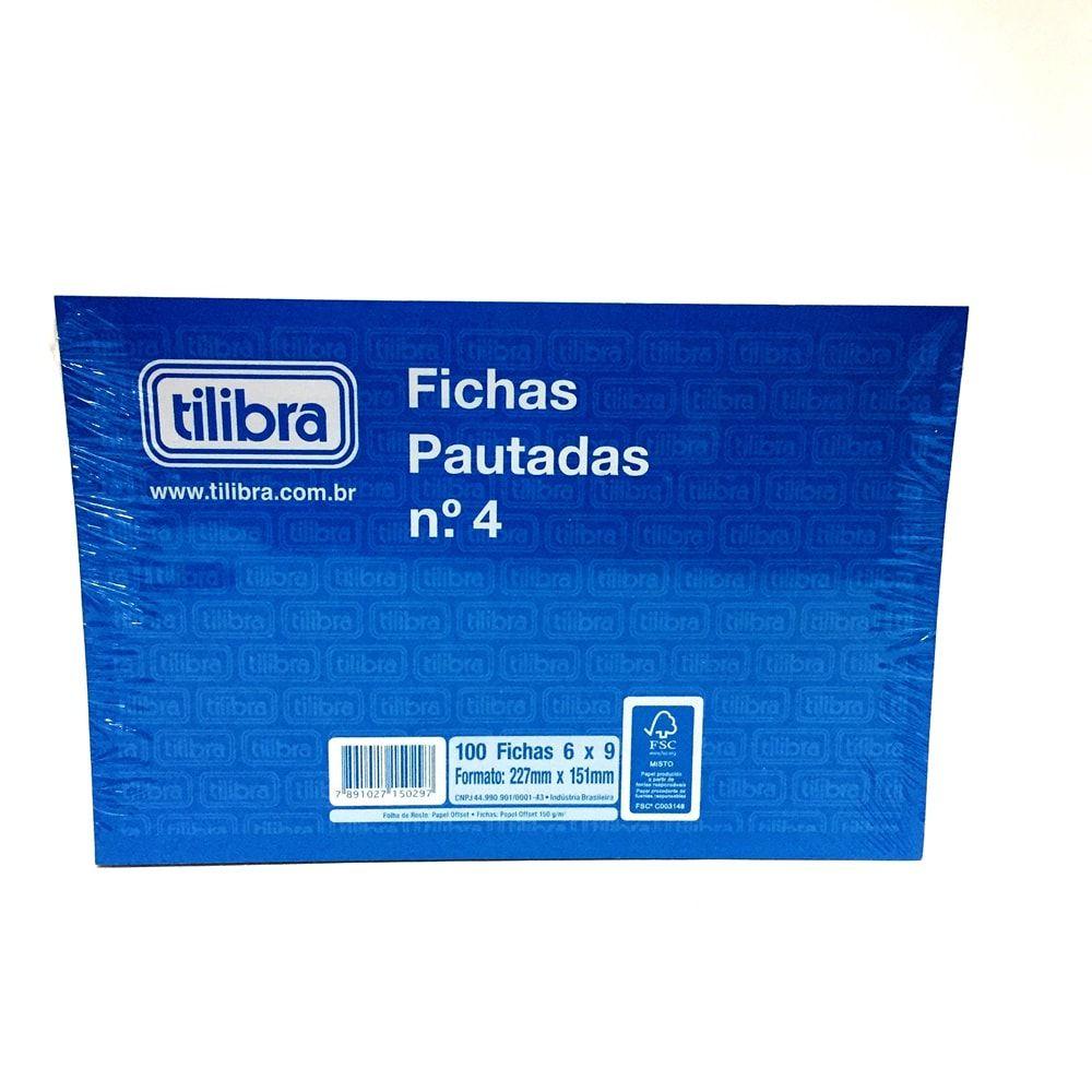 BLOCO DE FICHAS PAUTADAS N° 4 TILIBRA 100 FICHAS 6 X 9