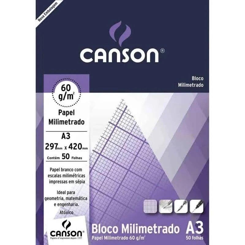 BLOCO DE PAPEL MILIMETRADO A3 CANSON 60g 50 FOLHAS 297mm X 420mm