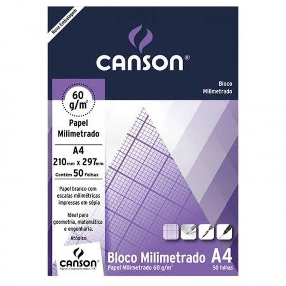 BLOCO DE PAPEL MILIMETRADO A4 CANSON 60g 50 FOLHAS 210mm X 297mm
