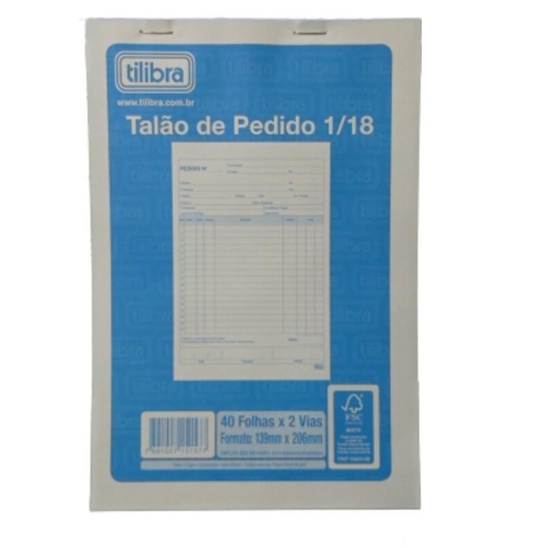 BLOCO TALÃO DE PEDIDO 1/18 TILIBRA 40 FOLHAS X 2 VIAS 139mm X 206mm