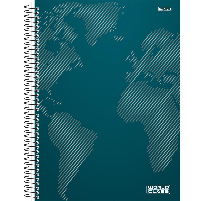 CADERNO 1/4 CAPA DURA ESPIRAL WORLD CLASS  - CAPAS SORTIDAS