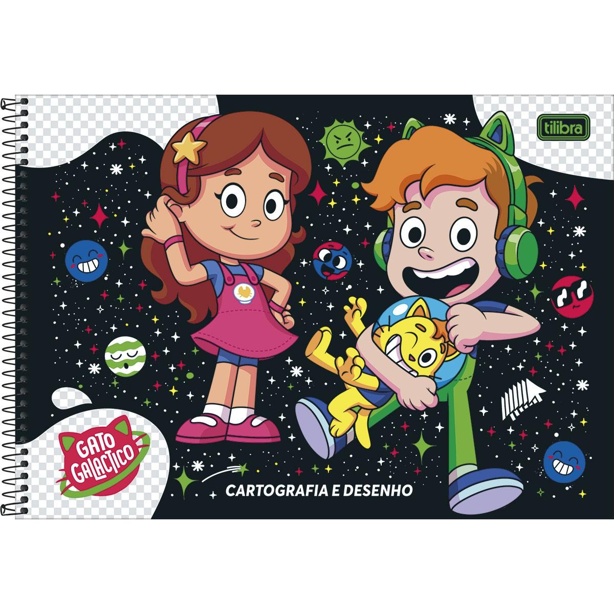 CADERNO DE CARTOGRAFIA E DESENHO ESPIRAL CAPA DURA GATO GALACTICO TILIBRA 80 FOLHAS - CAPA SORTIDA