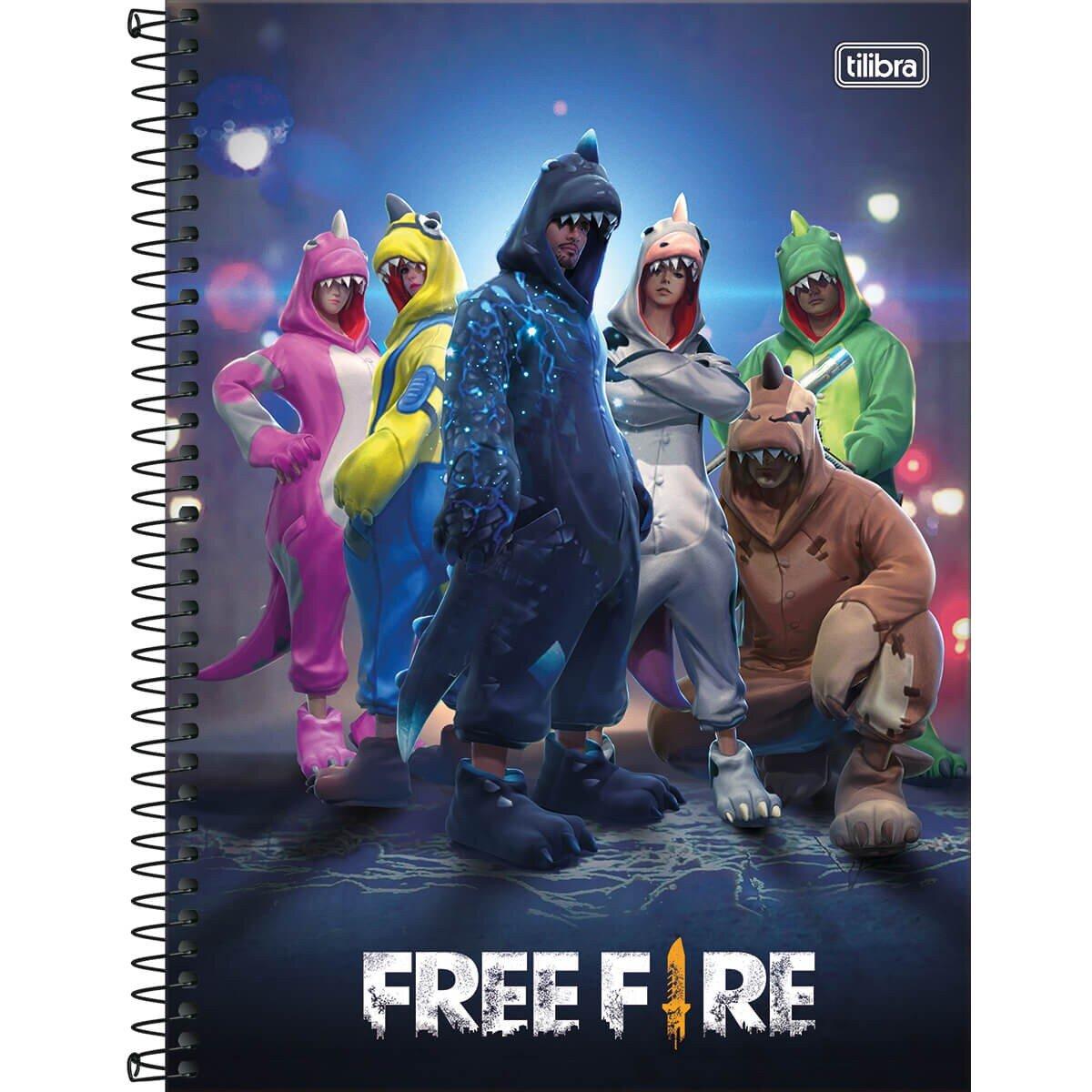 CADERNO UNIVERSITÁRIO FREE FIRE 10 MATÉRIAS 160 FOLHAS - CAPAS SORTIDAS