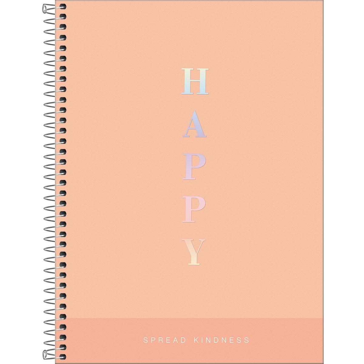 CADERNO UNIVERSITÁRIO HAPPY 12 MATÉRIAS 192 FOLHAS - CAPAS SORTIDAS