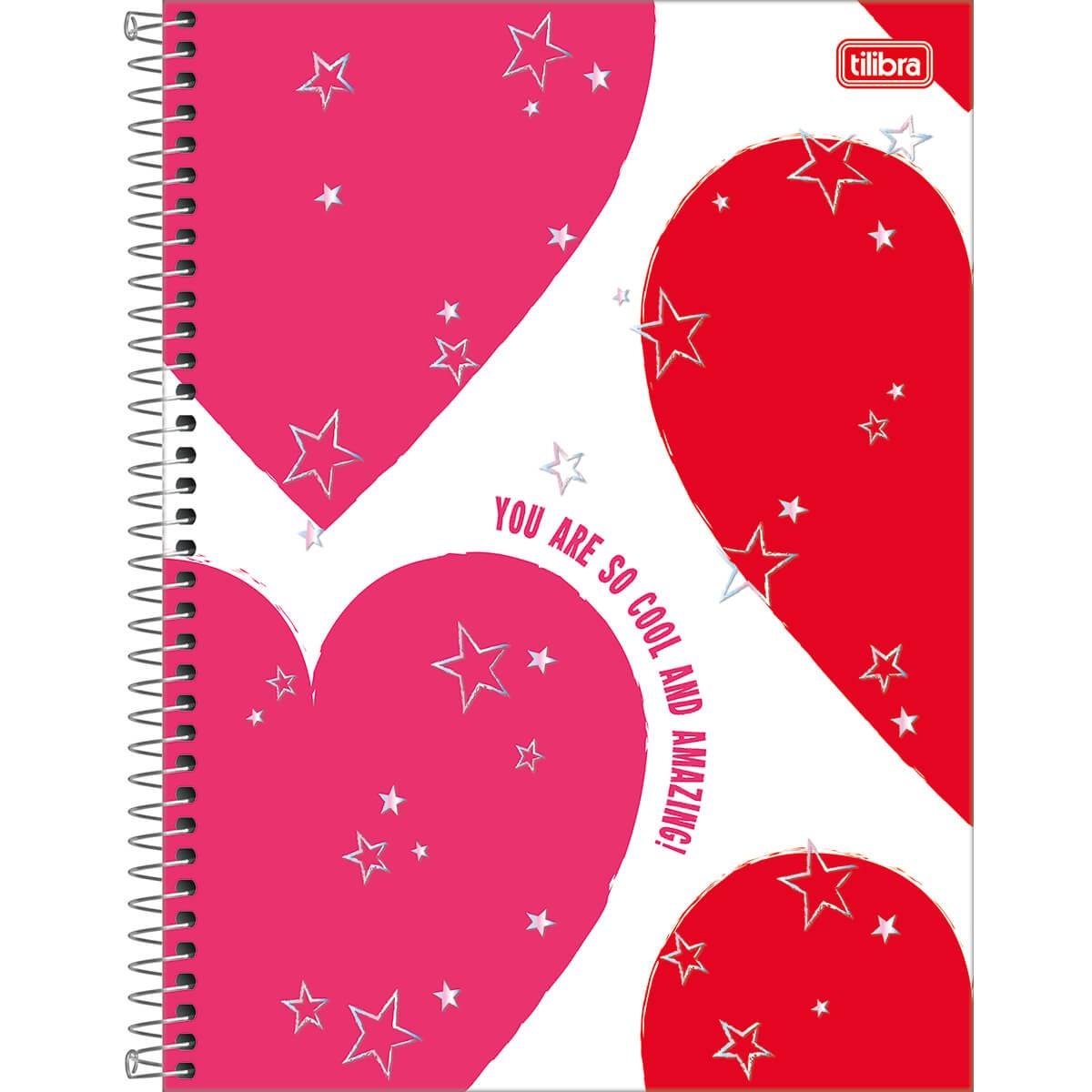 CADERNO UNIVERSITÁRIO LOVE PINK 16 MATÉRIAS 256 FOLHAS - CAPAS SORTIDAS
