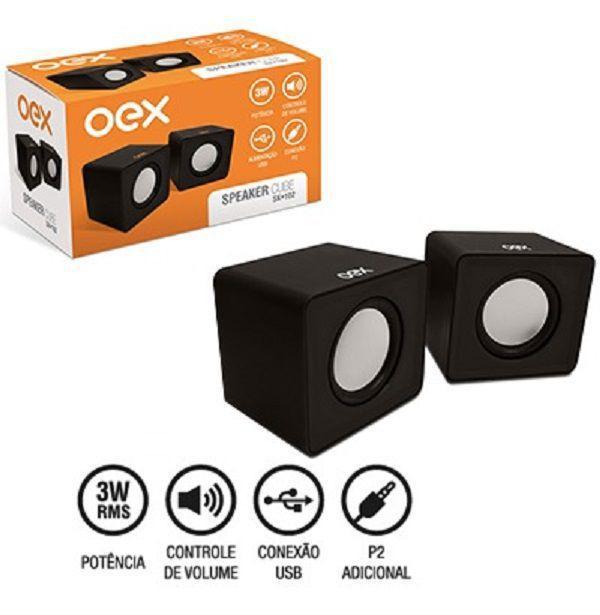 CAIXA DE SOM OEX SPEAKER CUBE SK102 PRETA