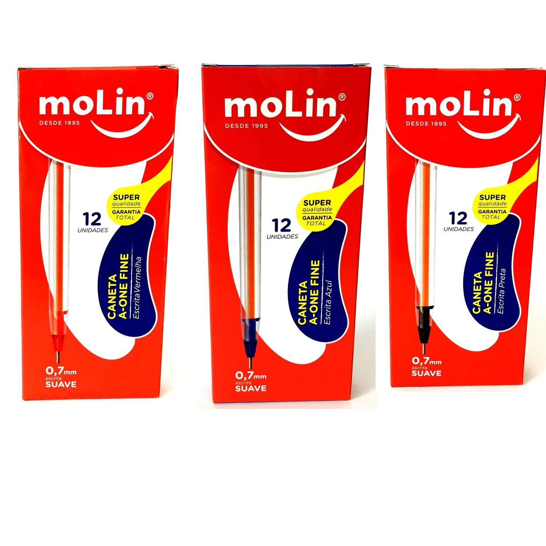 CANETA A-ONE FINE MOLIN - CAIXA COM 12 UN