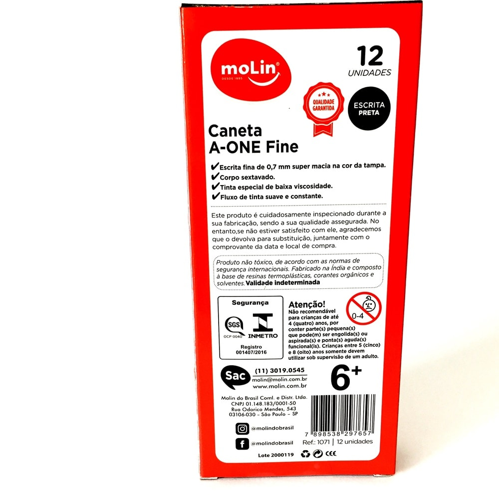 CANETA A-ONE FINE PRETA MOLIN - CAIXA COM 12 UN