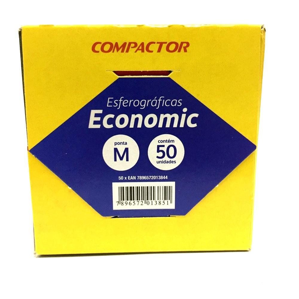 CANETA COMPACTOR ECONOMIC MÉDIA AZUL - CAIXA COM 50 UN