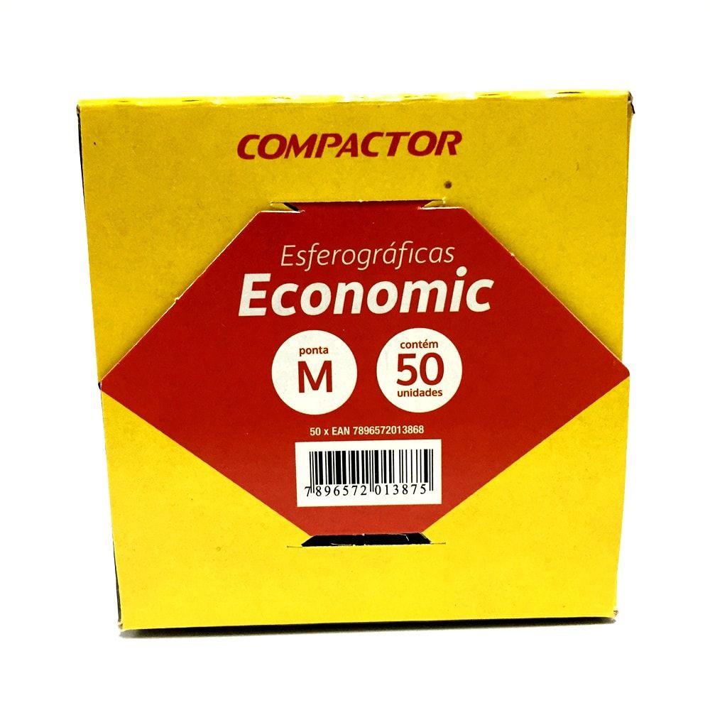 CANETA COMPACTOR ECONOMIC MÉDIA VERMELHA - CAIXA COM 50 UN
