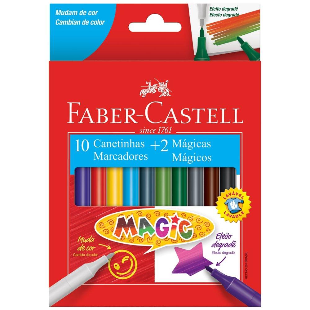 CANETA HIDROGRÁFICA 10 CORES + 2 CORES MAGICAS FABER-CASTELL