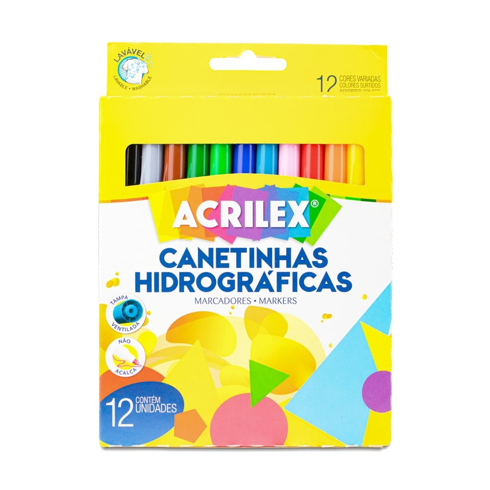CANETA HIDROGRÁFICA ACRILEX 12 CORES