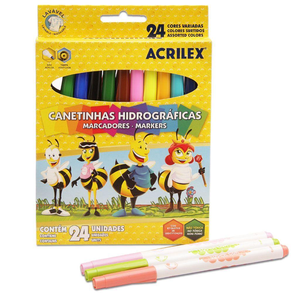 CANETA HIDROGRÁFICA ACRILEX 24 CORES ABELINHAS
