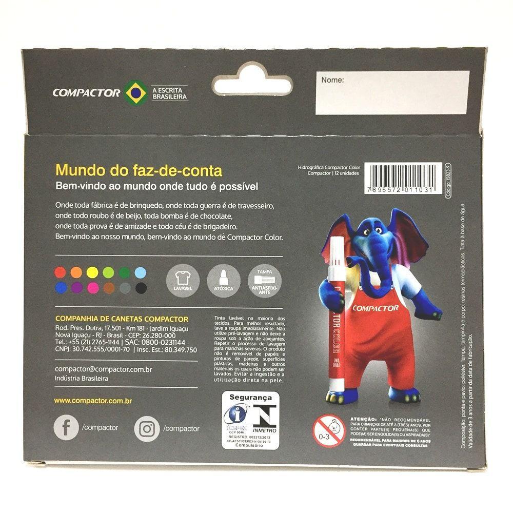 CANETA HIDROGRÁFICA GROSSA COMPACTOR 12 CORES