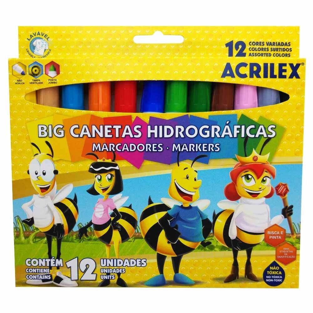 CANETAS BIG HIDROGRÁFICAS ACRILEX 12 CORES ABELINHAS