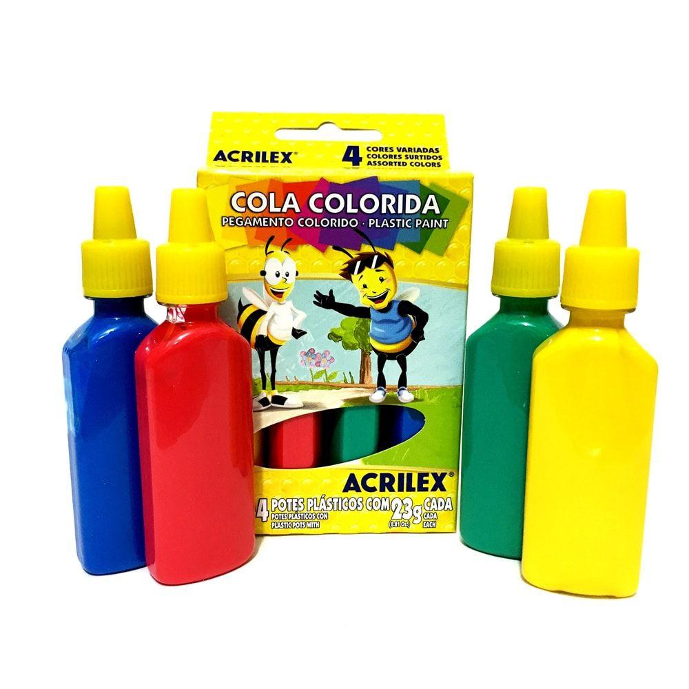 COLA COLORIDA 04 CORES ACRILEX ABELHINHAS 23G