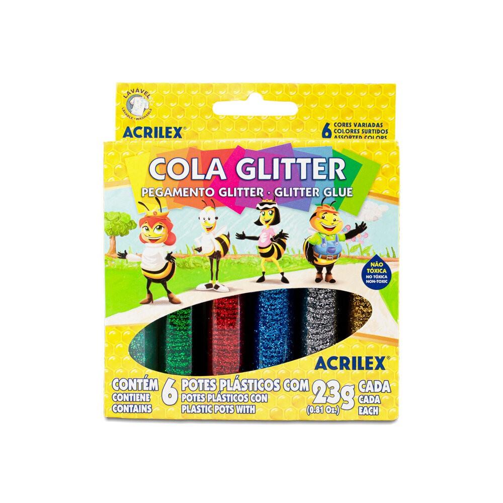 COLA GLITTER ACRILEX 06 CORES 23G CADA