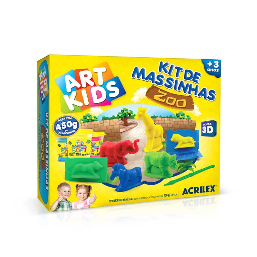 KIT DE MASSINHAS ZOO ACRILEX ART KIDS