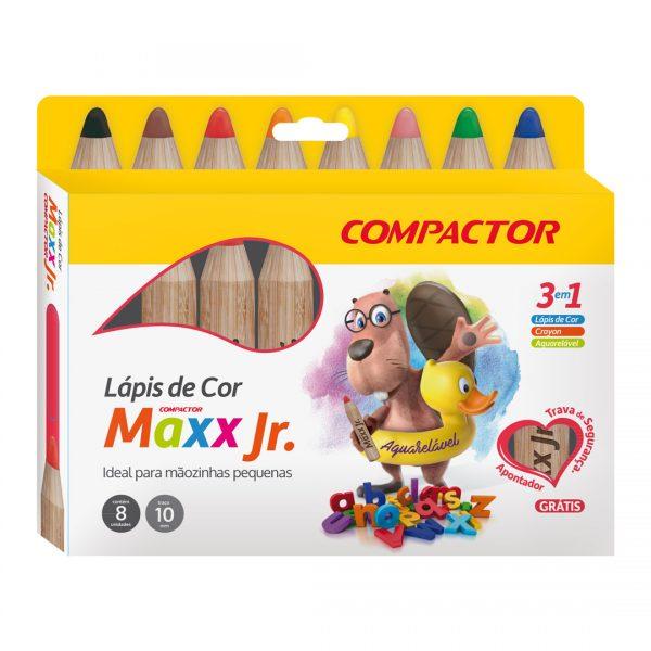 LÁPIS DE COR 8 CORES JUMBO COMPACTOR MAXX JR.