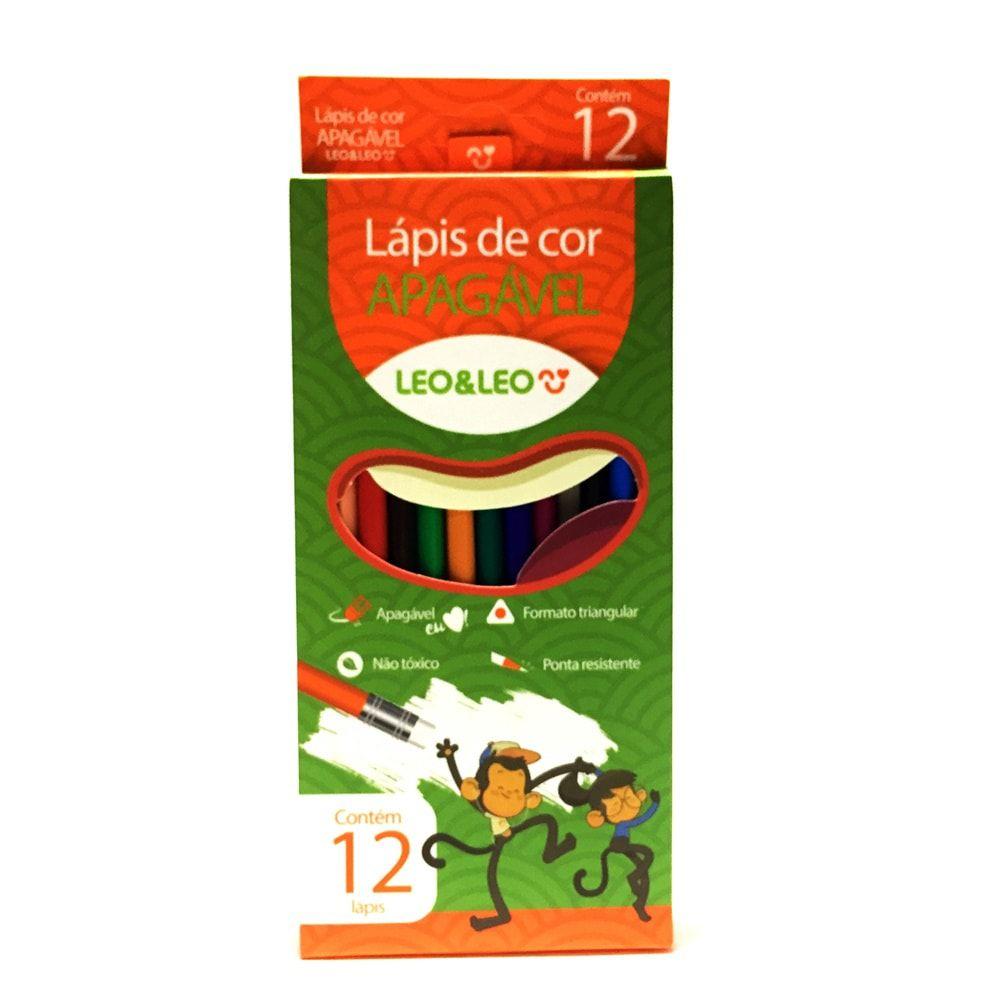 LÁPIS DE COR APAGÁVEL 12 CORES  LÉO E LÉO
