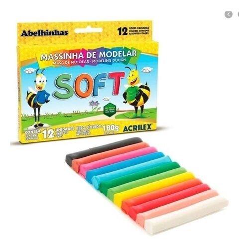 MASSINHA DE MODELAR ACRILEX SOFT ABELINHAS 12 CORES