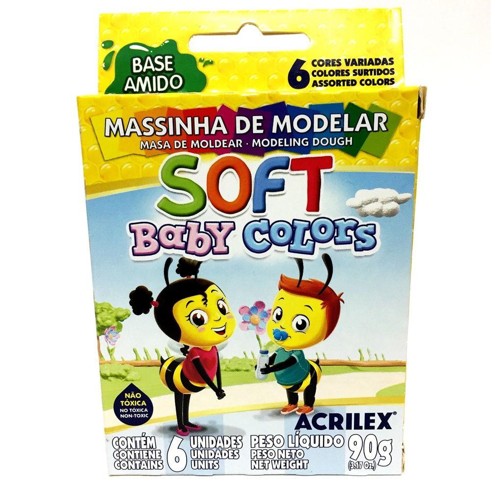 MASSINHA DE MODELAR ACRILEX SOFT BABY COLORS 6 CORES
