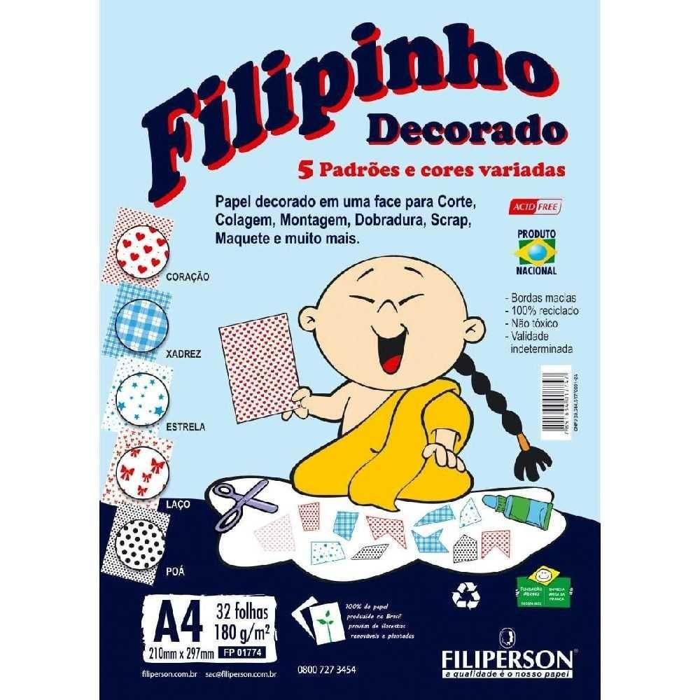 PAPEL CRIATIVO FILIPINHO DECORADO A4 5 PADRÕES DE CORES 32 FOLHAS 180G