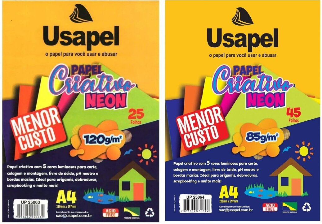PAPEL CRIATIVO NEON USAPEL A4 5 CORES