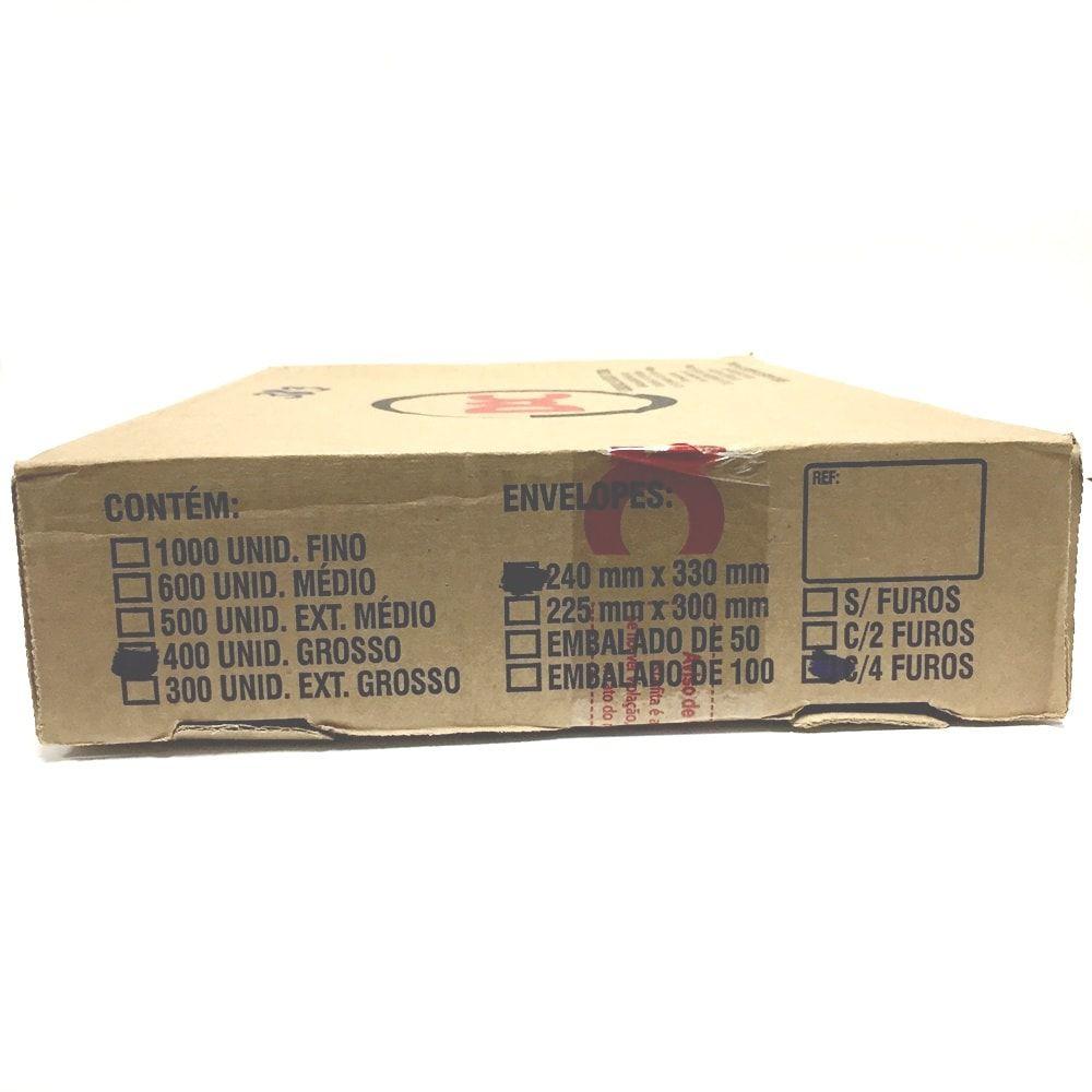 PLASTICO PARA PASTA CATÁLOGO GROSSO DAC 240MM X 330MM 4 FUROS - CAIXA COM 400 UN