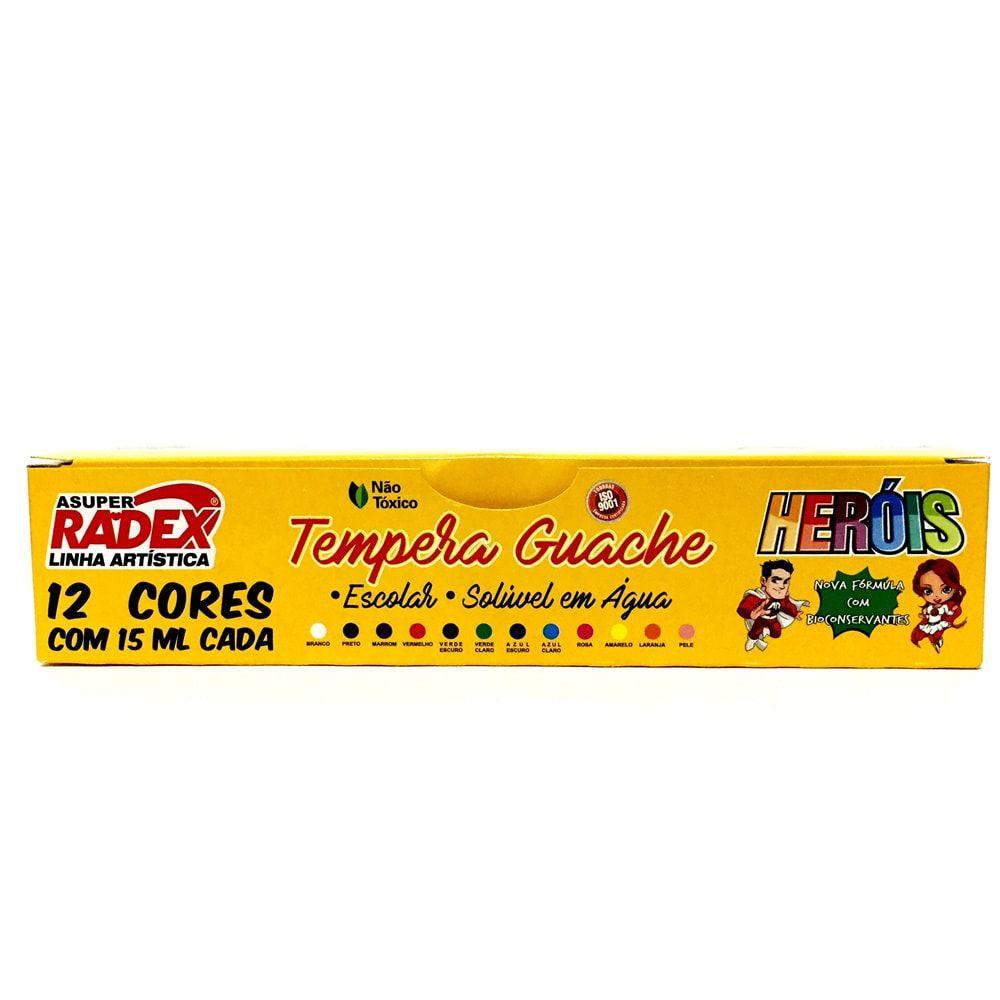 TINTA GUACHE 12 CORES SOLIVEL EM ÁGUA RADEX HERÓIS 15ML