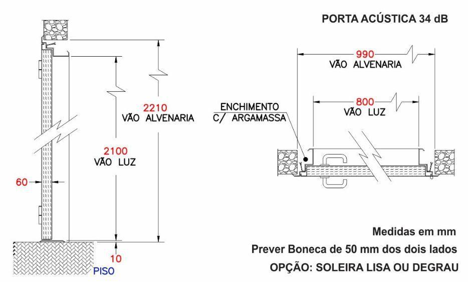 Porta Acústica Corta-Fogo 34 dB - Completa