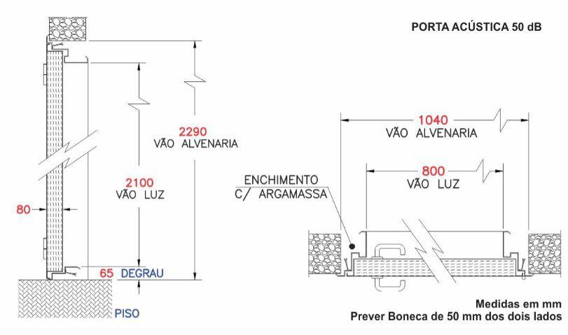 Porta Acústica Profissional Com Isolação de 50 dB (VSPF 50/80 SV)