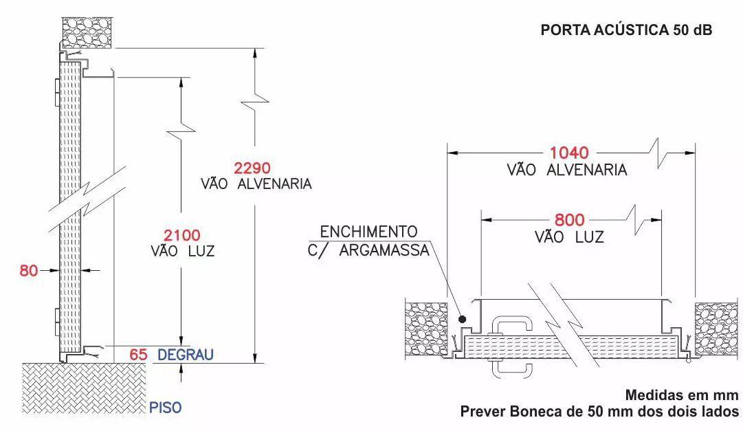 Porta Acústica Profissional com Isolação de 50 dB (VSPF 50/80 SV-JVS)