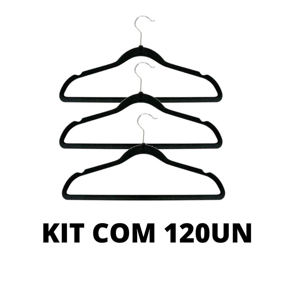 Cabide De Veludo Adulto Preto Kit com 120 unidades