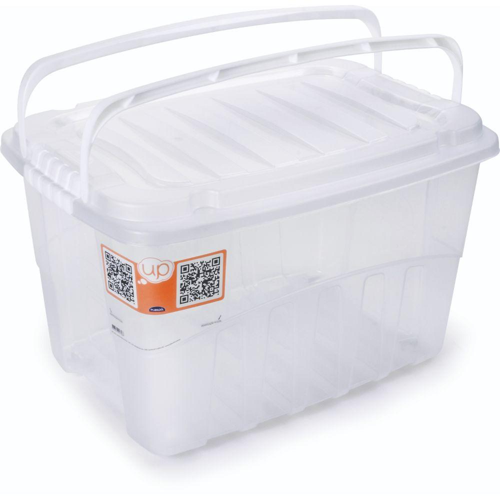 Caixa Grande Box Alta Com Alça 19,8L Branco Plasutil